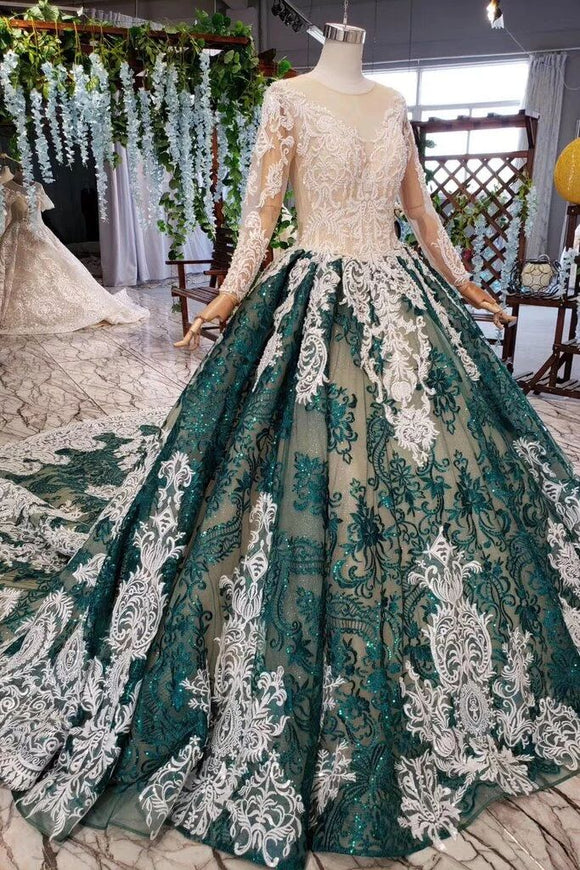 Green Long Sleeves Ball Gown Lace Prom Dress with Appliques, Long Prom Gown PFP1541