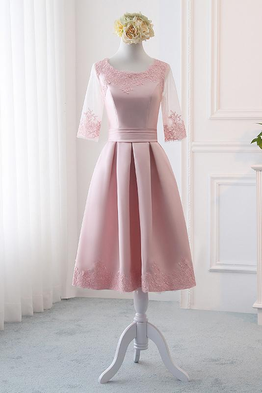 Pink Satin A Line Half Sleeves Lace Appliques Short Homecoming Dresses