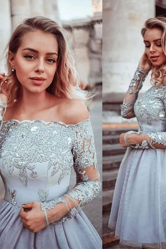 Gray Lace Appliques Tulle Short Prom Dress, Long Sleeves Homecoming Dress PFH0266