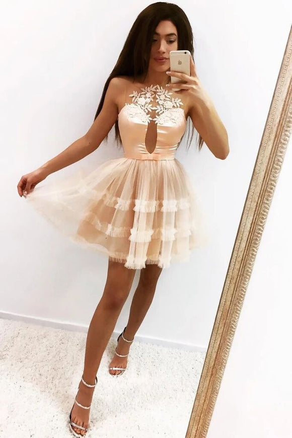 Tulle Short Prom Dress, Sheer Neck A Line Homecoming Dress PFH0271