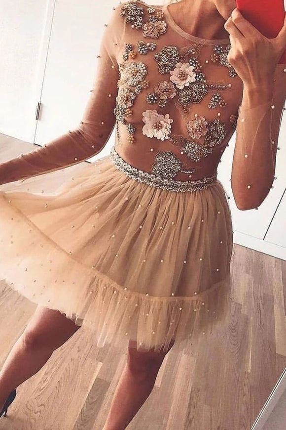 Tulle Beads Short Prom Dress, Long Sleeves Flowers Homecoming Dress PFH0274