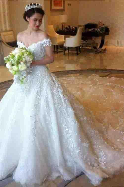Ball Gown Romantic Long Train Luxury Off the Shoulder Wedding Dresses PFW0036