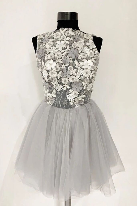 Gray Tulle Lace Short Prom Dress, A Line Flowers Homecoming Dress PFH0277