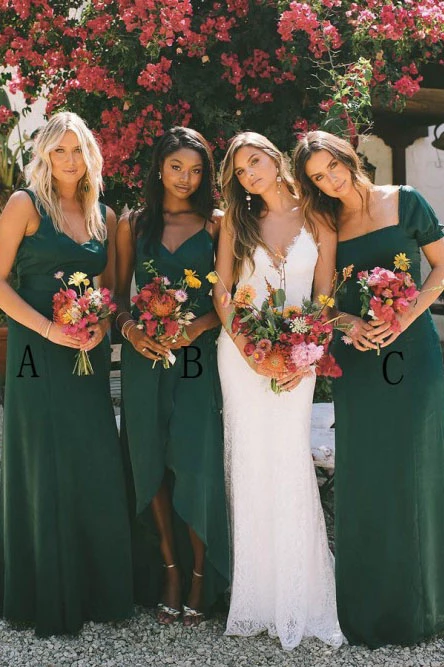 A-Line Dark Green Chiffon Long Cheap Bridesmaid Dresses PFB0158