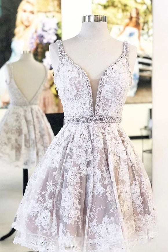 Cute V Neck Lace Short Prom Dress Beaded A Line Homecoming Dress PFH0282