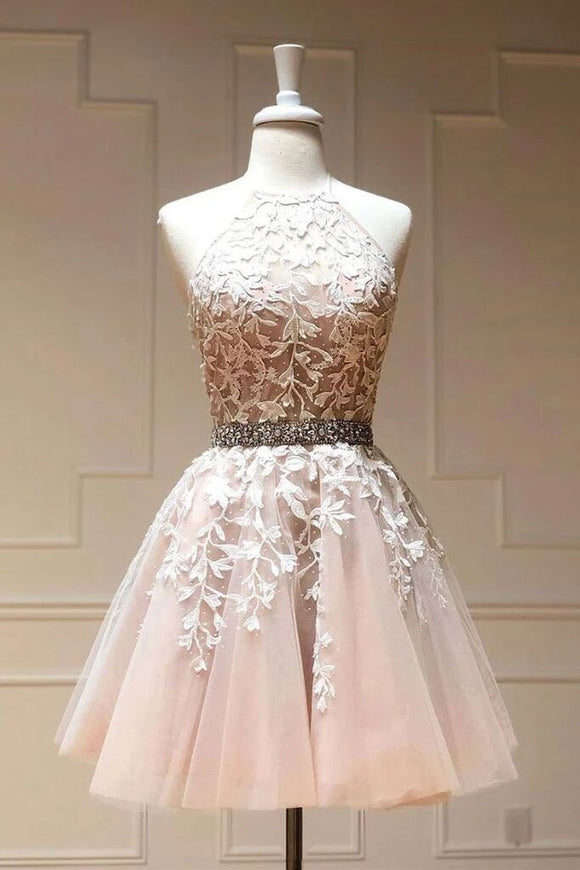 Tulle Lace Short Prom Dress Beadeing A Line Homecoming Dress PFH0283