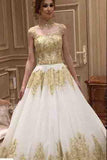 Beautiful Long Train High Neck Romantic Gold Appliques Wedding Dresses PFW0037