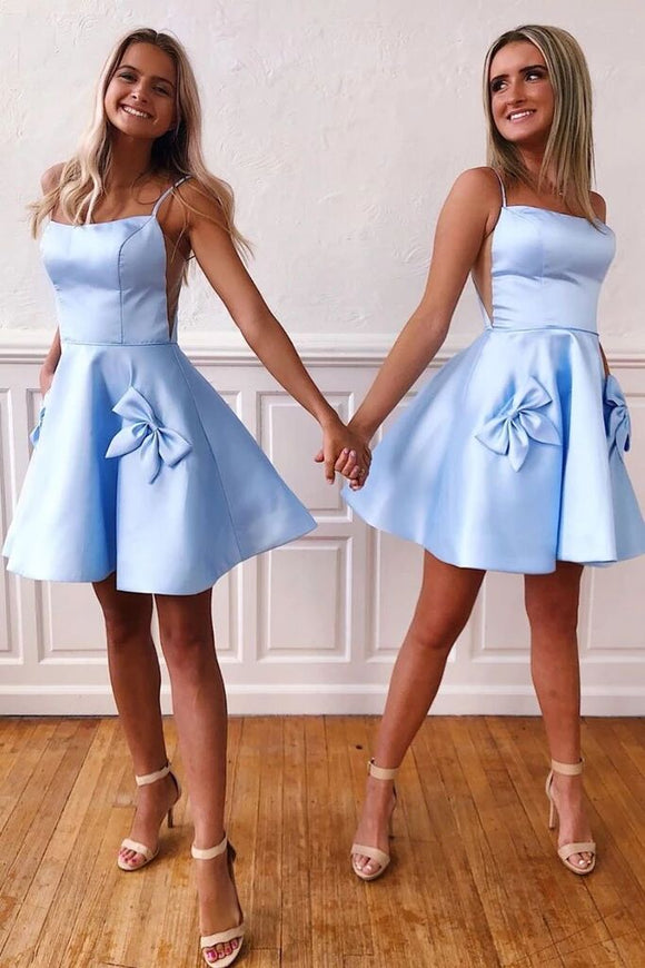Simple Blue Satin Short Prom Dress, Spaghetti Straps Homecoming Dress PFH0287