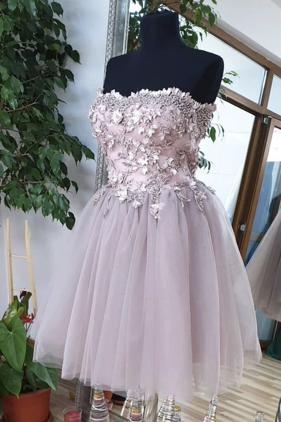 Cute Sweetheart Tulle Lace Beads Short Prom Dress, Homecoming Dress PFH0288