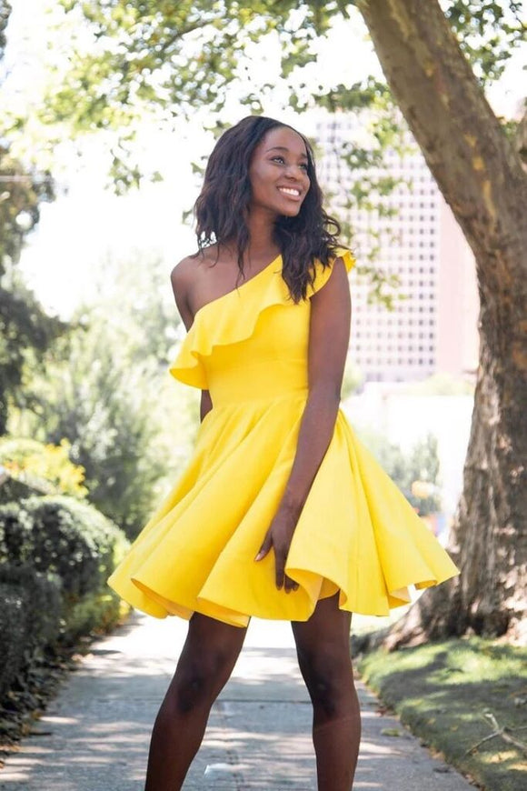 Simple Yellow Short Prom Dress, One Shoulder Homecoming Dress PFH0290