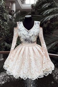 V Neck Lace Short Prom Dress, Long Sleeves Homecoming Dress PFH0292