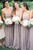 Beautiful Strapless Floor-Length Chiffon Long Bridesmaid Dress with Ruched PFB0029
