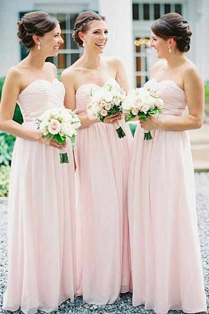 2019 Sweetheart A-line Long Chiffon Pink Bridesmaid Dress PFB0032