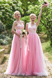 Elegant Pink Tulle A Line Long Bridesmaid Dress For Wedding PFB0034