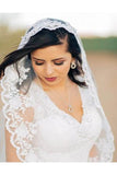3 Meters Long Tulle Wedding Veil Lace Applique Edge PFWV0014