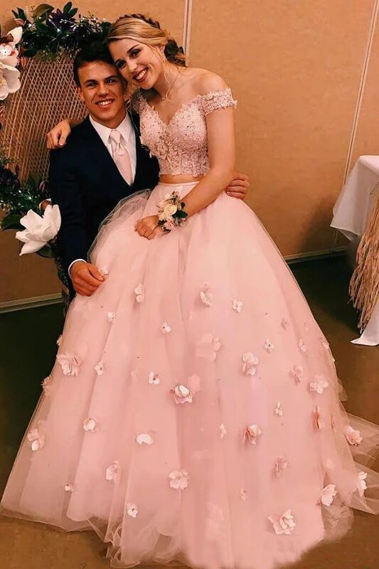 Stunning Two-piece V Neck Bridal Dresses Flowers Appliqued Pink Wedding Gowns PFW0392