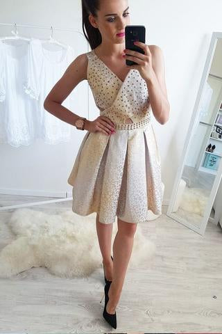 A-Line V-Neck Mini Cheap Homecoming Dress with Beading,Sweet 16 Dresses