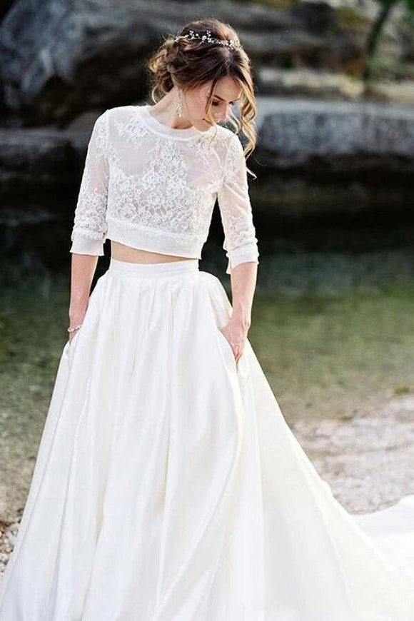 Ivory Lace Top Two Pieces Wedding Dresses Gorgegous Sweep Train Wedding Gowns With Pockets PFW0399