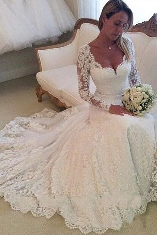 Gorgeous Ivory Lace Long Sleeves Bridal Dresses Wedding Dresses PFW0401