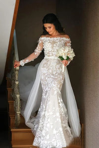 Off White Mermaid Lace Wedding Dresses Off the Shoulder Bridal Dresses PFW0404