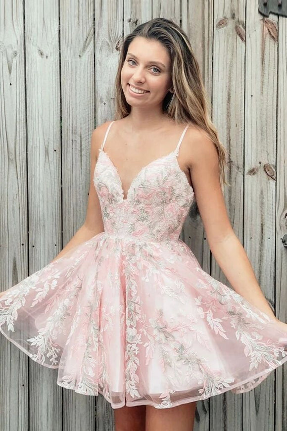 Spaghetti Strap A Line Appliques Pink Homecoming Dress, Short Prom Dresses PFH0297