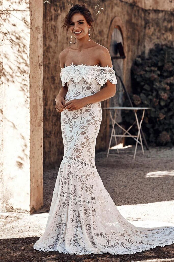 Off the Shoulder Lace Mermaid Wedding Dress, Cheap Bridal Dress PFW0408