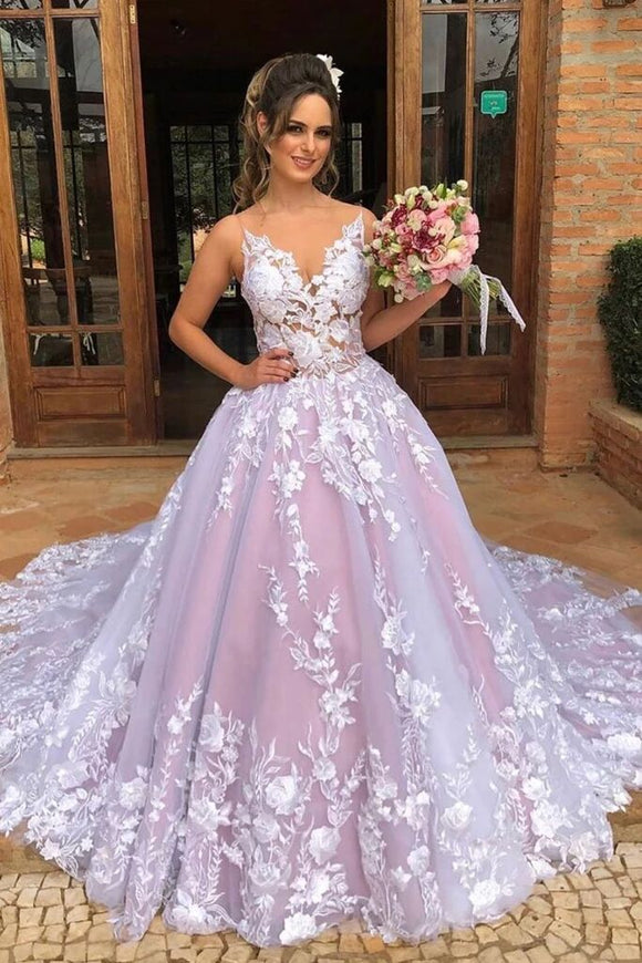 Ball Gown V Neck Lace Appliques Tulle Prom Dresses PFP1563