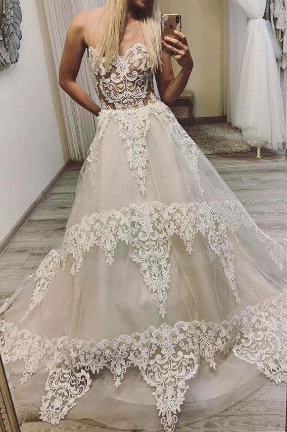 Ivory Sweetheart A Line Lace Appliques Long Prom Dresses PFP1567