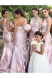 Beautiful One Shoulder Lace Appliques Long Mermaid Pink Bridesmaid Dress PFB0037