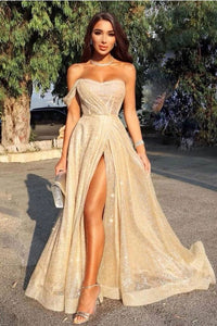 Sweetheart A Line Floor Length Cheap Prom Dress With Slit PFP1569