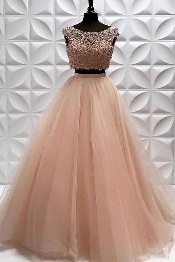 Two Pieces A Line Tulle Beading Long Sleeveless Prom Dress PFP1570