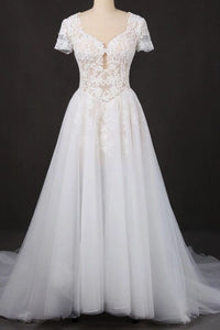 Off White A Line Short Sleeves Lace Appliques Wedding Dress, Bridal Gown PFW0410