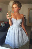 A-Line Strapless Light Blue Lace Short Homecoming Dresses