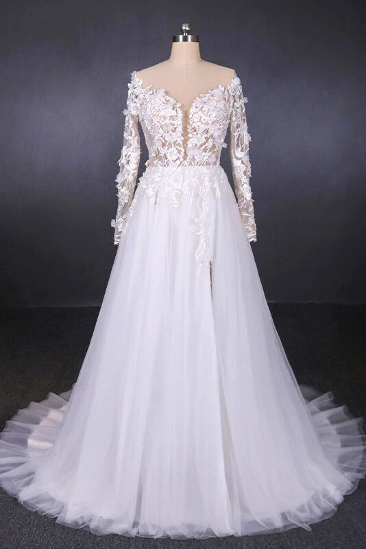 A Line Tulle Lace Appliques Long Sleeves Wedding Dress, Cheap Bridal Dresses PFW0414