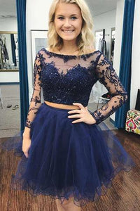 Two Piece Bateau Long Sleeves Dark Blue A Line Tulle Homecoming Dress