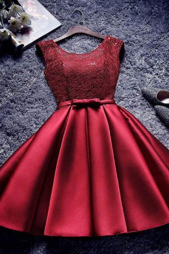 Burgundy A Line Short Satin Homecoming Dresses PFH0030