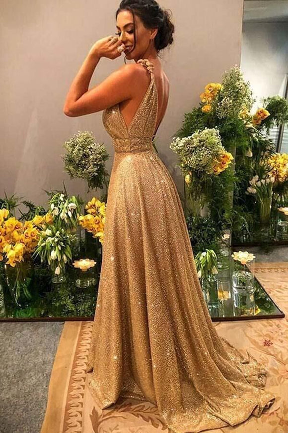 Promfast A-line Gold Sequin Empire Prom Dress Long 2020 Sweep Train PFP1807