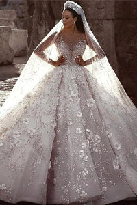 Luxurious Long Sleeves Flowers Ball Gown Wedding Dress, Bridal Dresses PFW0417