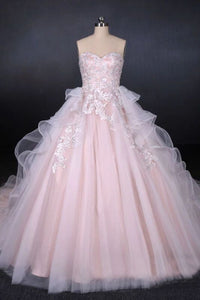 Romantic Pearl Pink Ball Gown Wedding Dress, Sweetheart Appliques Bridal Gown PFW0418