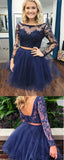 Two Piece Bateau Long Sleeves Dark Blue A Line Tulle Homecoming Dress PFH0160