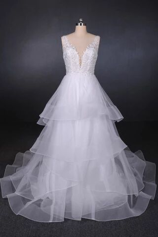 A Line V Neck Layered Backless Wedding Dress, Long Bridal Gown PFW0419