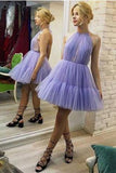 Halter Lavender A-Line Tulle Short Unique Homecoming Dresses PFH0031