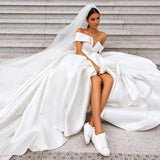 Off the Shoulder White Ball Gown Simple Wedding Dress, Satin Bridal Gown PFW0420