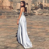 Mermaid Spaghetti Straps Detachable Silver Prom Evening Dress with Appliques PFP1575