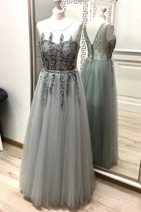 Gray A Line Tulle Appliques Prom Dresses, Long Cheap Prom Gown