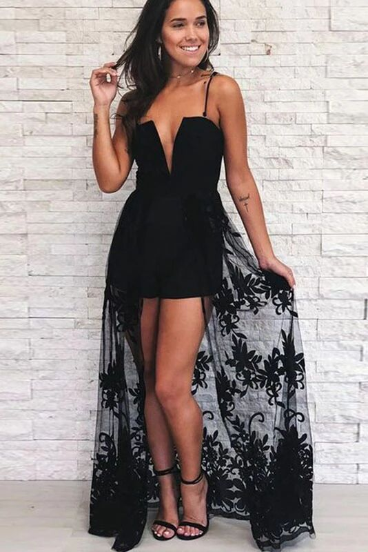 A Line Spaghetti Strap Black High Low Prom Dress With Lace PFP1579