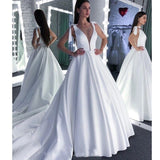 A Line Round Neck White Prom Wedding Dress With Bowknot PFP1584