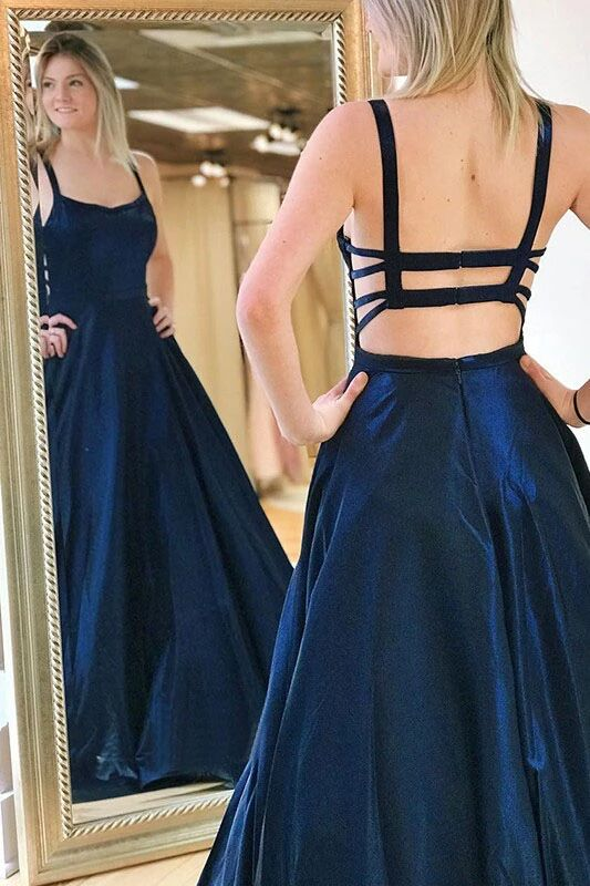 A Line Spaghetti Straps Sweep Train Drak Navy Prom Dress With Pocktes PFP1585