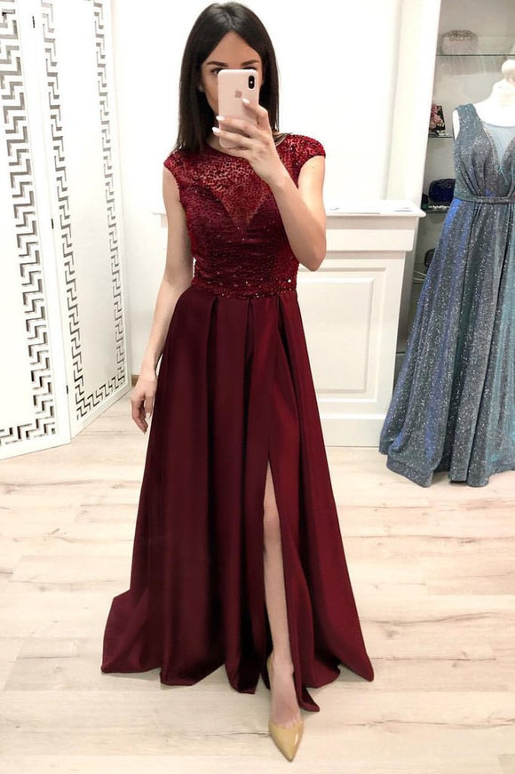 Burgundy A Line Cap Sleeves Prom Dresses, Long Beading Slit Prom Gown