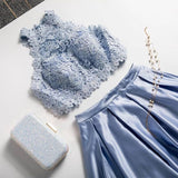 Two Piece A Line Jewel Light Sky Blue Floor Length Prom Dress With Lace Top PFP1586